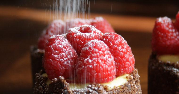 Mini cheescake – cioccolato, lime e lamponi-