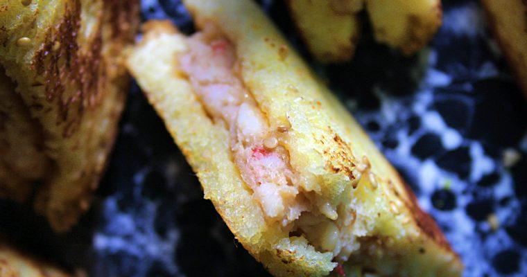 Mini tramezzini di gamberi – con zenzero, lime, timo e salsa di soia –