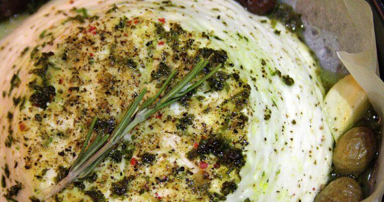 Ricotta al forno – con miele, erbe aromatiche e olive taggiasche –